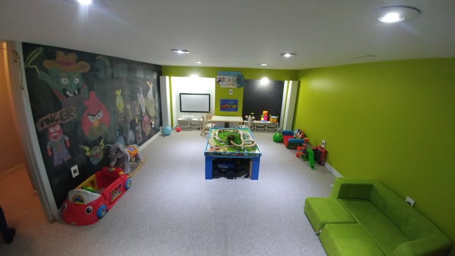 Freshly Painted Kids Playroom with Chalkboard, Magnetic Wall and White Board Painted