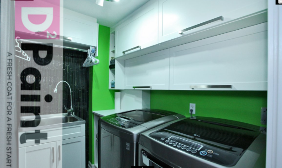 Lime Green Painted Laundry Room