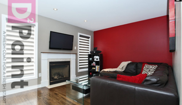 Feature wall (red) living room.
