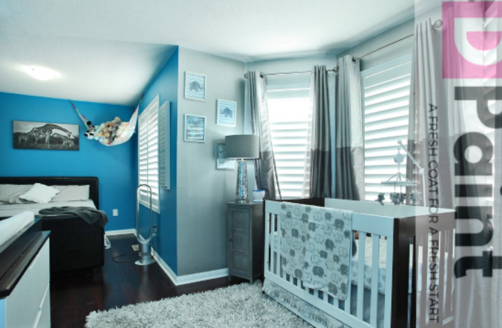 Blue and Metallic Finished Baby Room