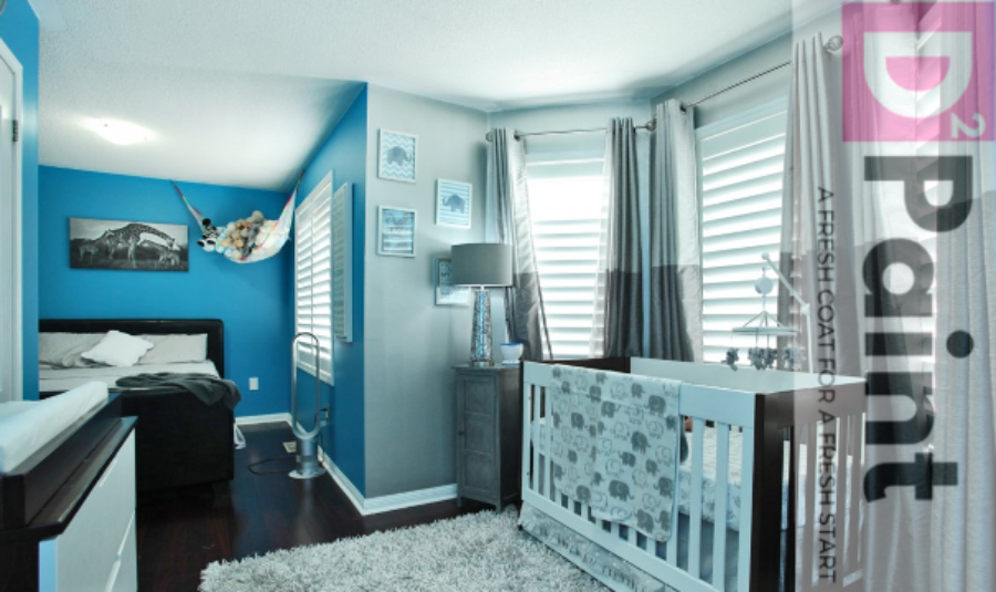 Blue and Metallic Silver Baby Room