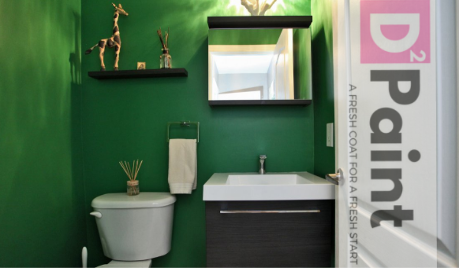 Jungle Themed Powder Room With Green Paint